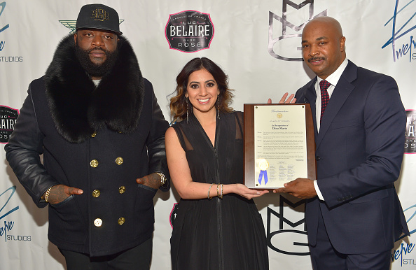 Rick Ross, Dina Marto, and Kwanza Hall attend Proclamation Ceremony & Toast For Twelve Studios at Twelve Studios on February 16, 2015 in Atlanta, Georgia.  (Photo by Paras Griffin/Getty Images)
