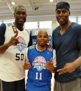 "Game MC ""REEC"" with NBA Legends Dikembe Mutumbo & Kevin WIllis."