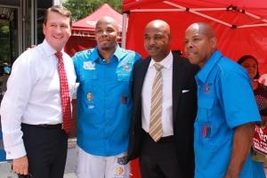 Tim Davies (GM Radio One Atlanta), Reec, Kwanza Hall (Council Man), G. M. Swiney (CEO, PAYUSA)