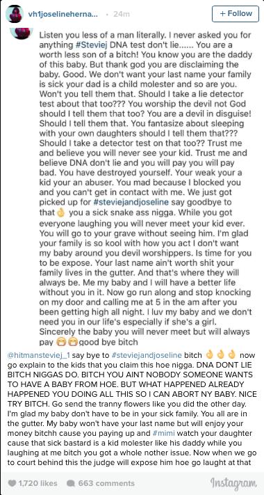 Joseline makes allegations against stevie J