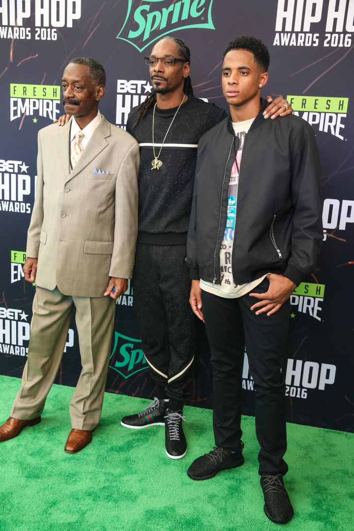 Rapper Snoop Dogg, son Cordell Broadus and father Vernell Varnado