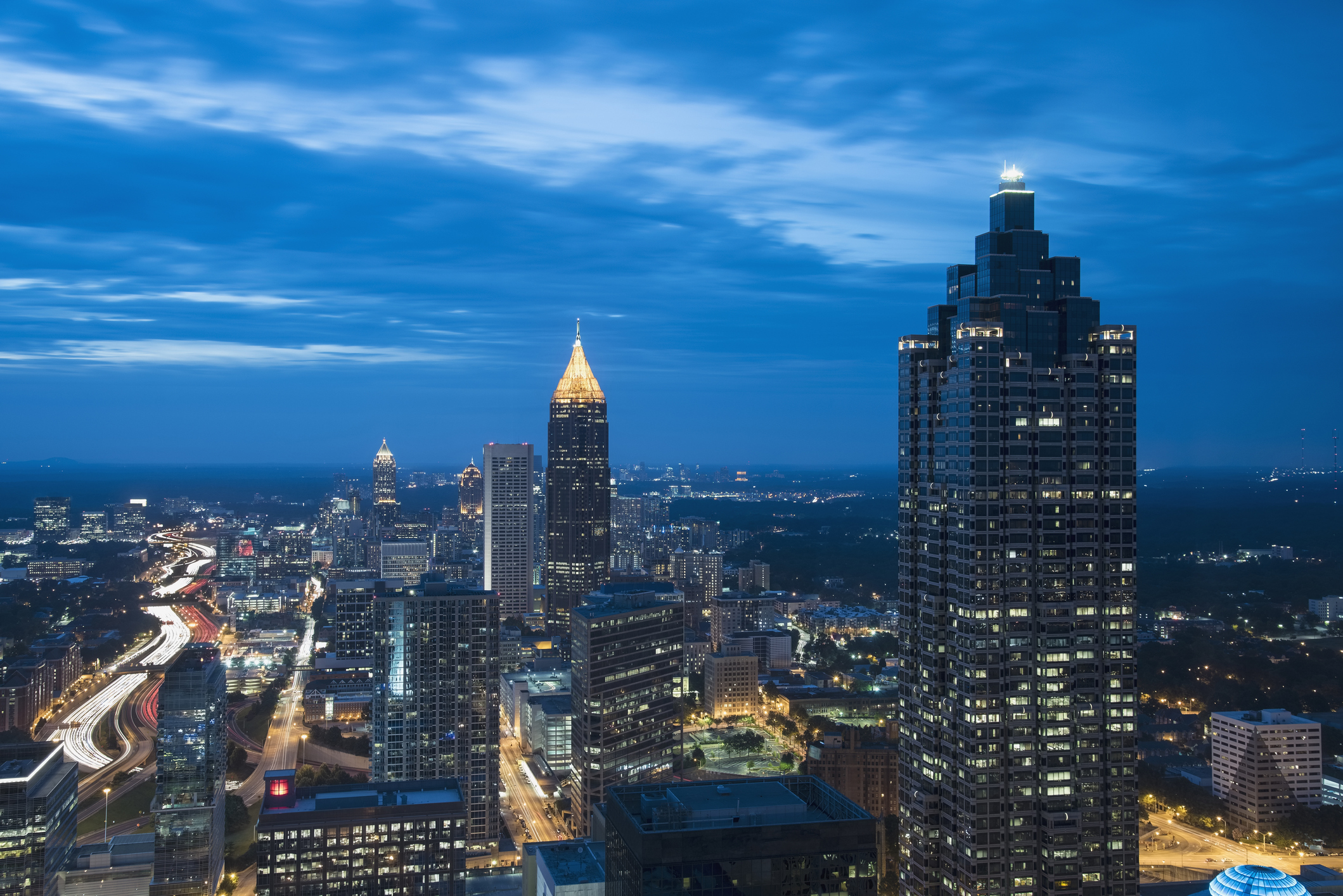 USA, Georgia, Atlanta, Cityscape with skyscrapers at dusk