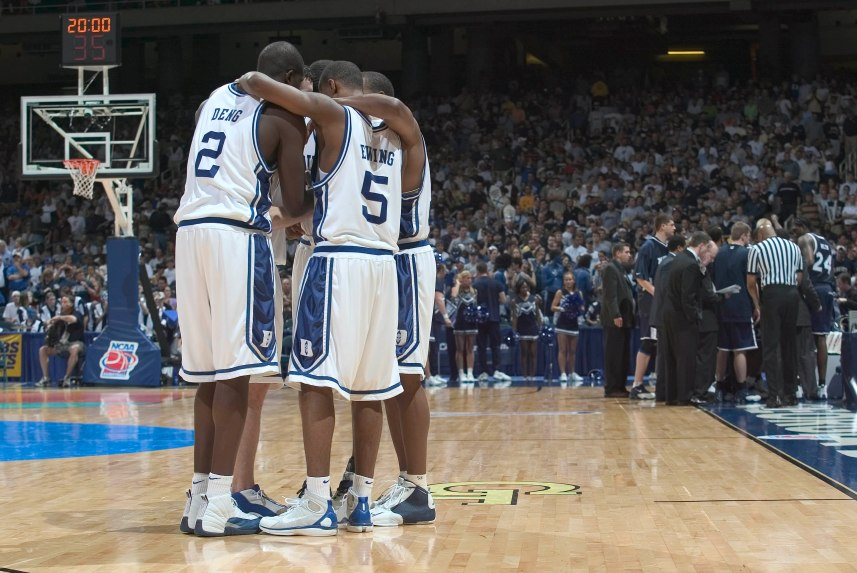 28 March 2004: The Duke Blue Devils huddle during their 66-63 victory over the Xavier Musketeers in the Elite 8 of the NCAA Tournament at the Georgia Dome in Atlanta, GA.