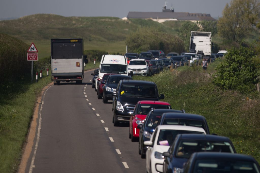 Huge queues of traffic on the roads near Hastings in East Sussex as sun seekers make for the coast during heatwave.