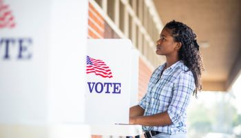 Beautiful Young Black Girl Voting