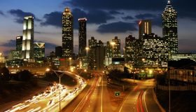 USA, Georgia, Atlanta skyline, dusk (long exposure)