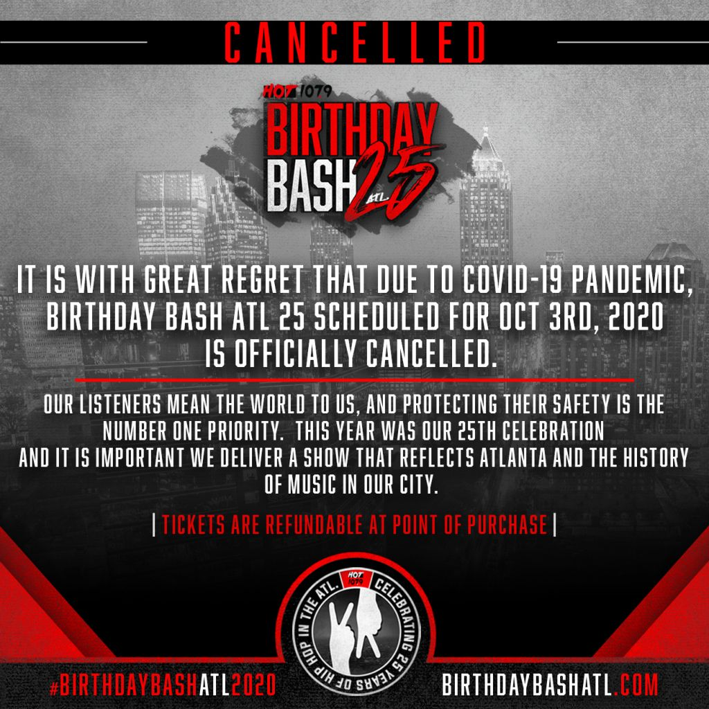 Birthday Bash ATL Cancelled