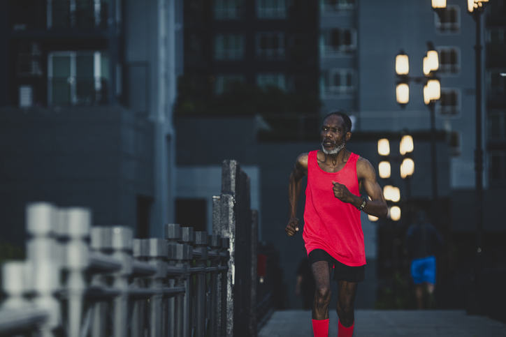 Night Jogger Flattening the Curve: a Responsible Senior Man Running in the Evening when Social Distancing is Possible