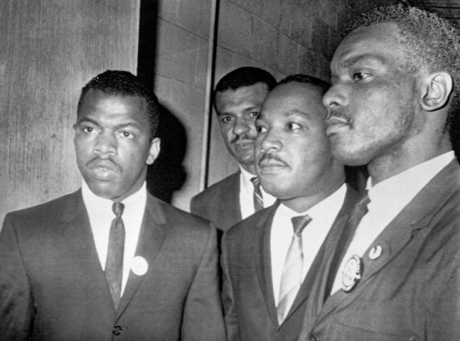 Martin Luther King Jr. with John Lewis at Mass Meeting in Nashville