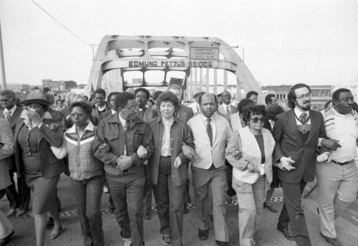 Civil Rights Marchers Cross Edmund Petus Bridge